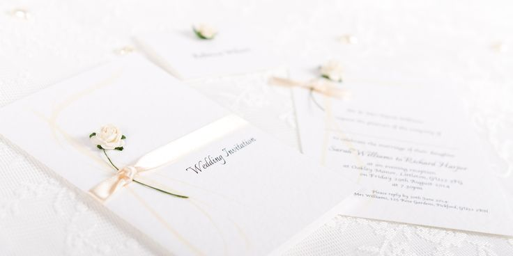 Flourish Handmade Wedding Invitation Design - paper rose and ribbon