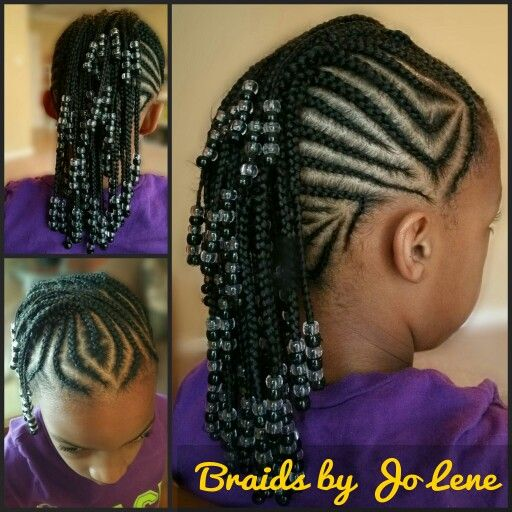 Cornrow Mohawk with black and clear  beads