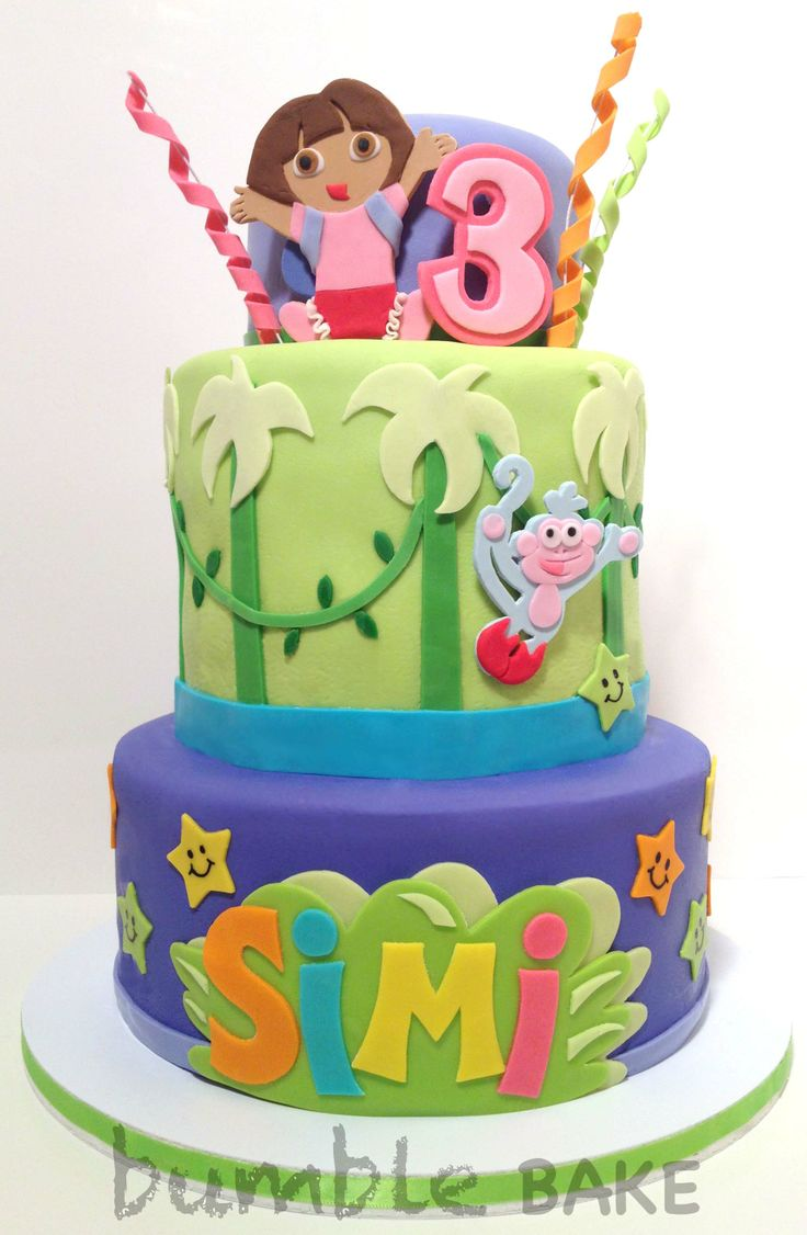 Birthday Cake W Dora The Explorer Theme Bumble Bake