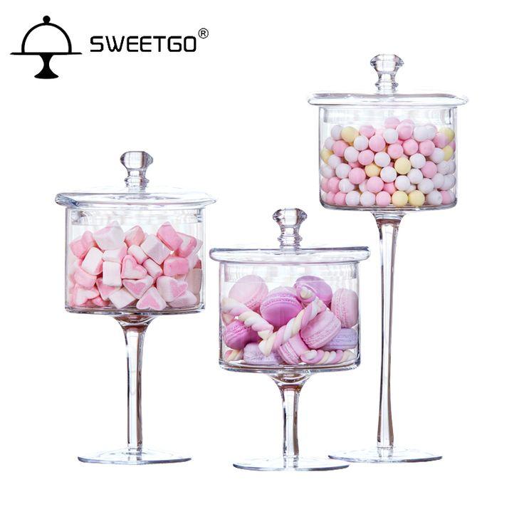 スリム背の高い透明ガラスキャンデーの瓶で結婚式のデザート装飾キャンディー、スナック、ドライフルーツの瓶3ピース/セット