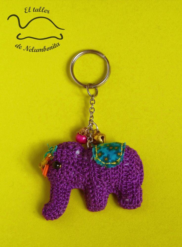 Llavero de elefante ganchillo