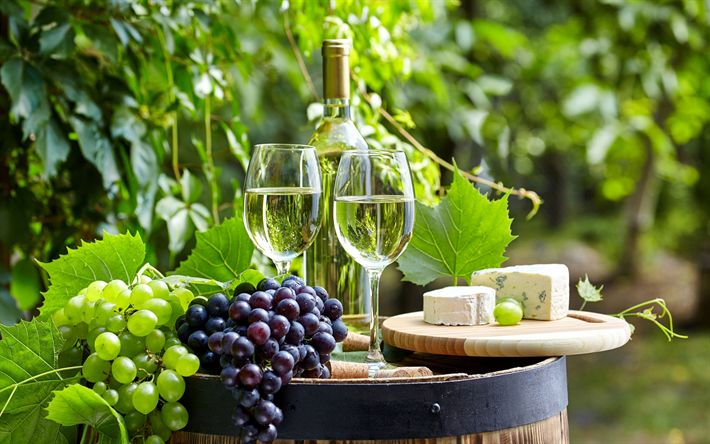 Download wallpapers white wine, grapes, wooden barrel, autumn, French cheese