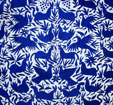 Mexican Otomi Fabric - These gorgeous textiles are handmade by the Otomi, a group of people indigenous to central Mexico. The designs typically feature stylized animals and botanical forms, hand embroidered in rich colors on a white background. Some are done in a single hue, like the one shown here, while others are a riot of colors.