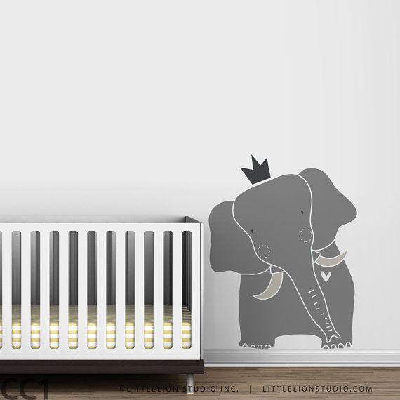 Baby Zoo King Elephant Wall Decal - Gray Elephant, Blue Elephant, White Elephant - Nursery Wall Decor via Etsy