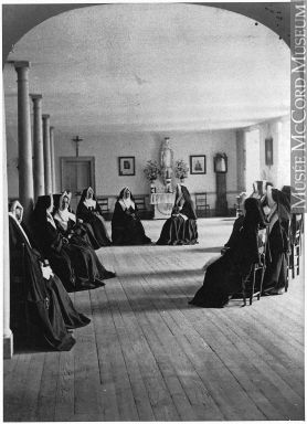 Community room in the Mother House, Congrégation de Notre Dame, Montreal, QC, about 1885.