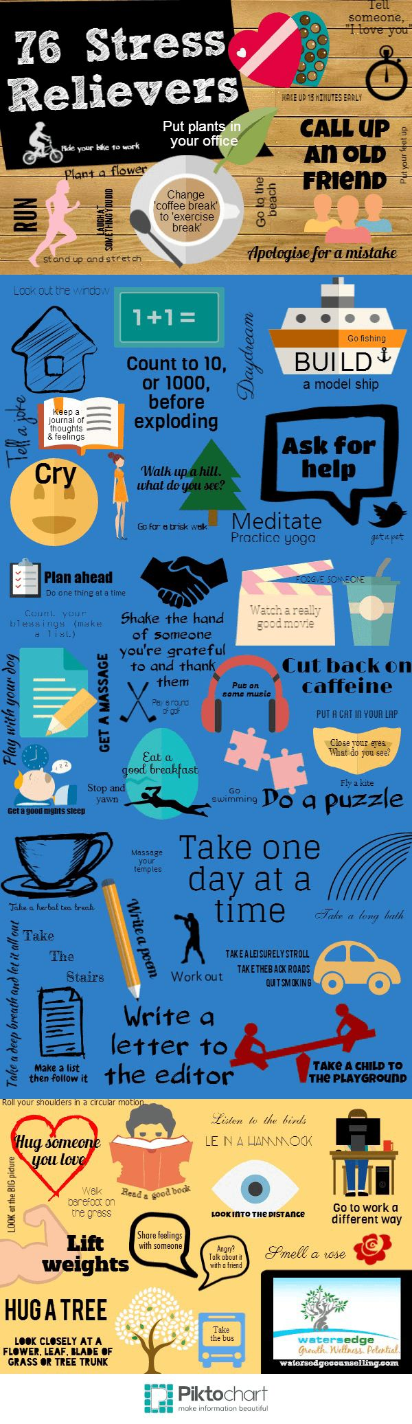 Top tips to staying stress free in the workplace infographic - 76 Stress Relievers Happy Life Happiness Positive Emotions Healthy Stress Lifestyle Health Mental Health Healthy Living Remedies Remedy Infographic Self