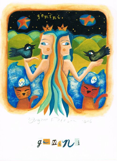 Dubbele kaart met enveloppe, afm. 11 br x 15 cm hg, www.postersquare.com  Titel: Tweelingen  Beeld: Ingrid Friesen – Illustrator    De Tweelingen is een sterrenbeeld in de astrologie dat een echte kletskous is. Dit teken in de   dierenriem heeft de neiging om de emoties te verbergen achter sterke woorden. De Latijnse   benaming van de horoscoop Tweelingen is Gemini. De Tweelingen is het sterrenbeeld voor   mensen geboren van 22 mei tot en met 20 juni.