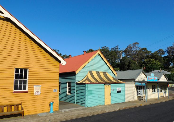 Colourful historic buildings on the main street of Central Tilba.
