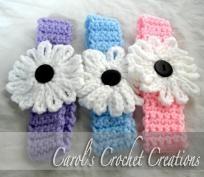 Handmade Crocheted Baby Headband with Daisy (Set of 3)