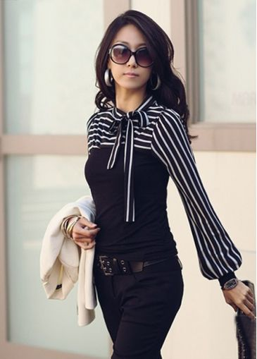 Woman Round Collar with Bow Striped Paned Long Sleeve Tees