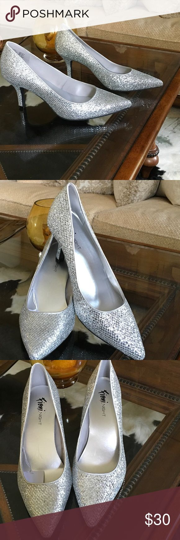 Silver Evening Shoes New, never worn, high heel Evening shoes. Fioni Night Shoes Heels