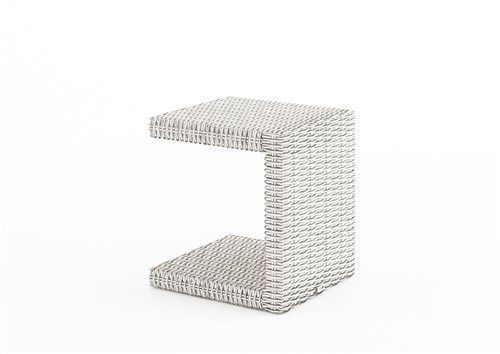 prirucny stolik z umeleho ratanu biely