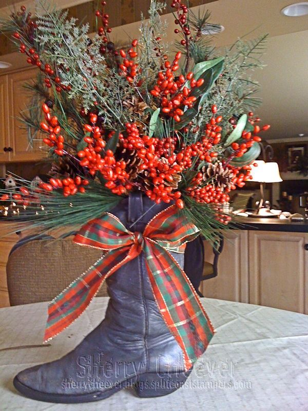 cowboy boot flower arrangements | my uncle's cowboy boot! (Editor's note: photo taken with iPhone ...