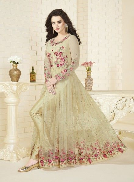 Cream anarkali frock  https://www.gravity-fashion.com/cream-abaya-style-wedding-wear-indian-anarkali-frock-n17256.html