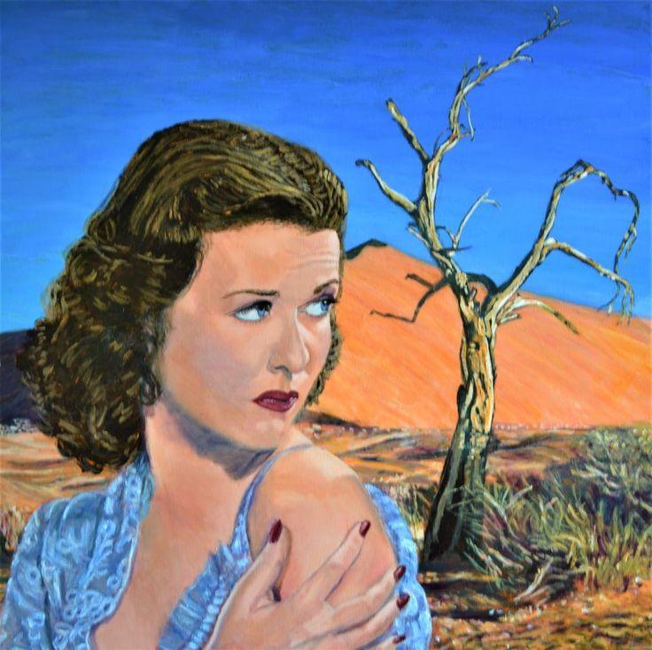 Original painting on canvas Hollywood desert landscape Jane Ianniello Australian