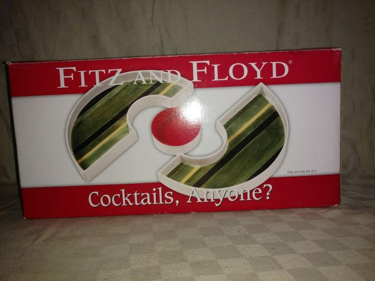 2005 FITZ & FLOYD COCKTAILS, ANYONE? CHIP AND DIP SET HAND PAINTED NIB Superbowl #FITZANDFLOYD