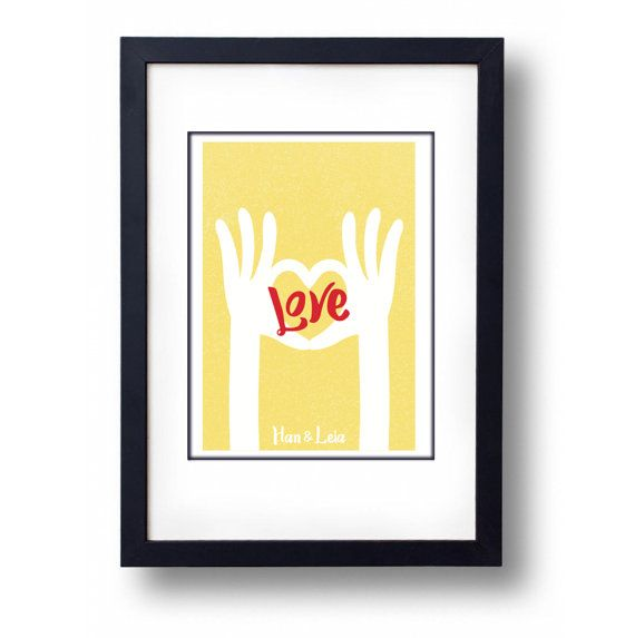 Love Hand Heart Personalised Art by mammothcreativeworks