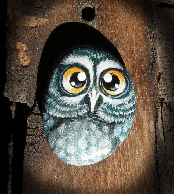 Owl No.3  Handpainted magnet rock painting painted stone miniature painted rock