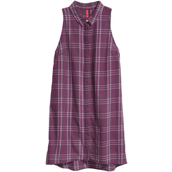 H&M Sleeveless shirt dress (£15) found on Polyvore featuring women's fashion, dresses, vestidos, tops, shirts, sleeveless short dress, sleeveless cotton dress, purple sleeveless dress, short purple dresses and flare shirt dress