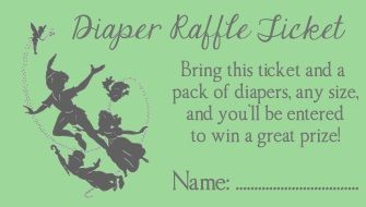 Peter Pan Baby Shower Party Favors Diaper Raffle Ticket Card