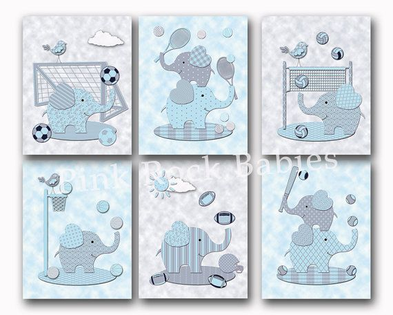 Blue elephants nursery wall art Baby boy room decor sports poster kids room decoration baseball soccer basketball football toddler artwork