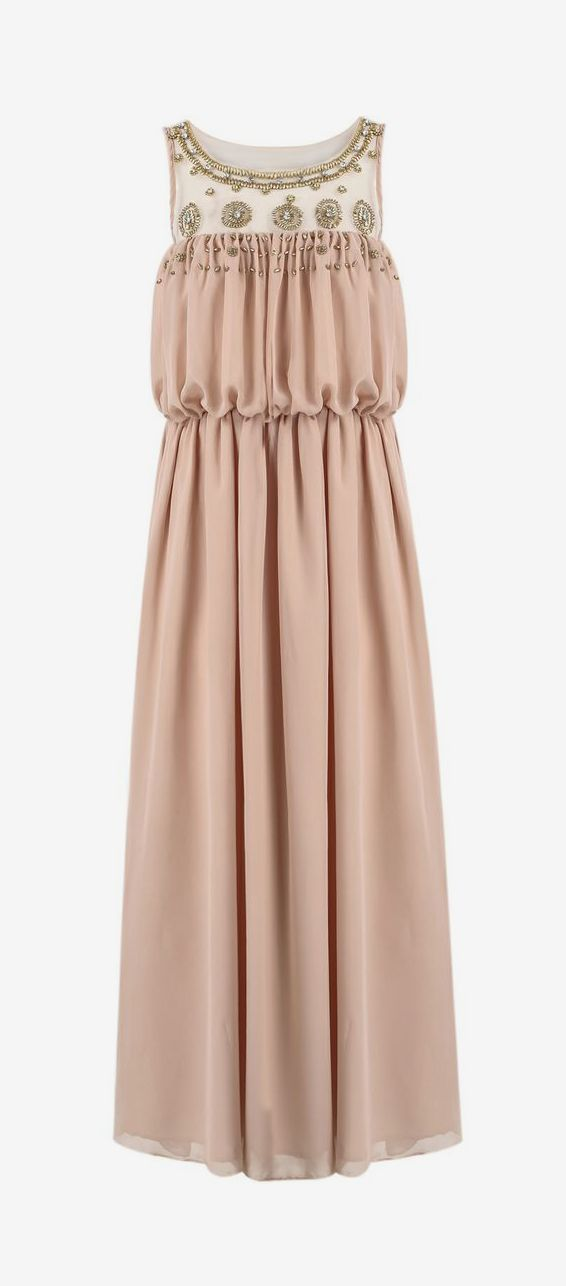 Pink Sleeveless Bead Pleated Maxi Dress