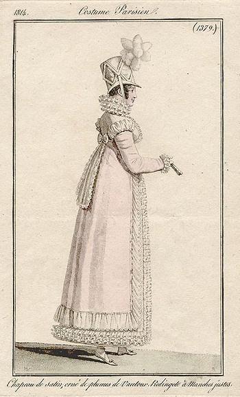 Costume Parisien, 1814. Redingote with frilled trim.