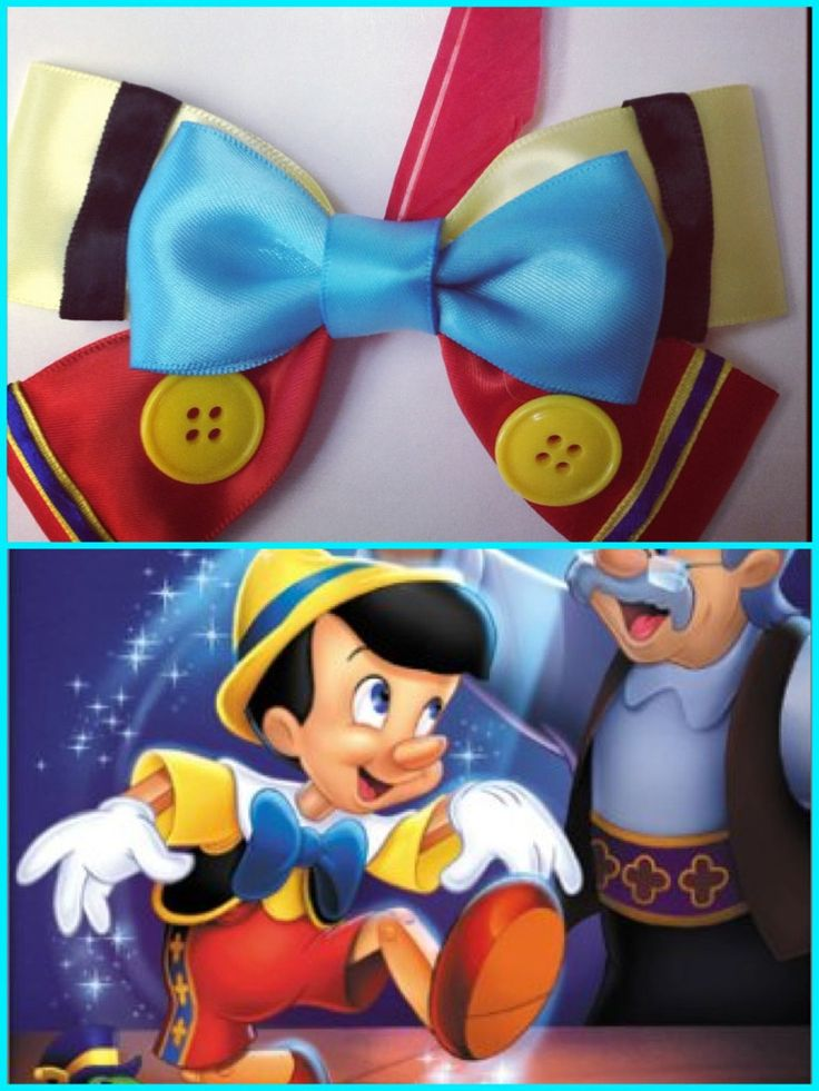 Pinocchio inspired disney hair bow by ToInfinityBowtique on Etsy, $9.50
