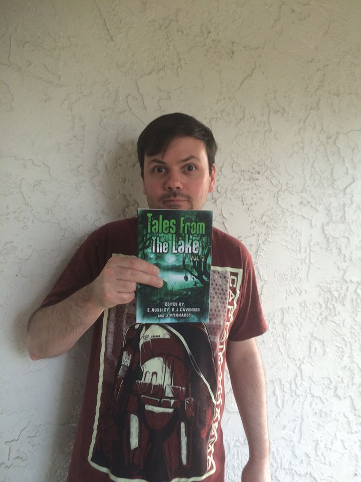 Author Ben Eads holding up his TALES FROM THE LAKE VOL.2 contributors copy. Just gorgeous. The book, I mean. The book.
