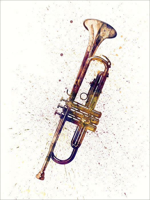 Trumpet Abstract Watercolor Music Instrument Art Print door artPause