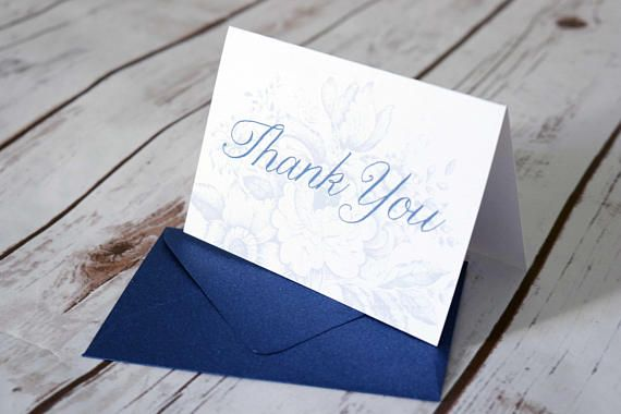 Floral Toile Navy Thank You Cards  Modern Script Font