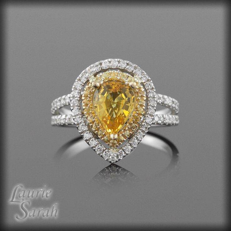 Yellow Sapphire Ring - Sapphire Engagement Ring, Pear Shaped Yellow Sapphire Ring with Yellow Sapphire & Diamond Double Halo - LS1310 by LaurieSarahDesigns on Etsy https://www.etsy.com/listing/64737428/yellow-sapphire-ring-sapphire-engagement