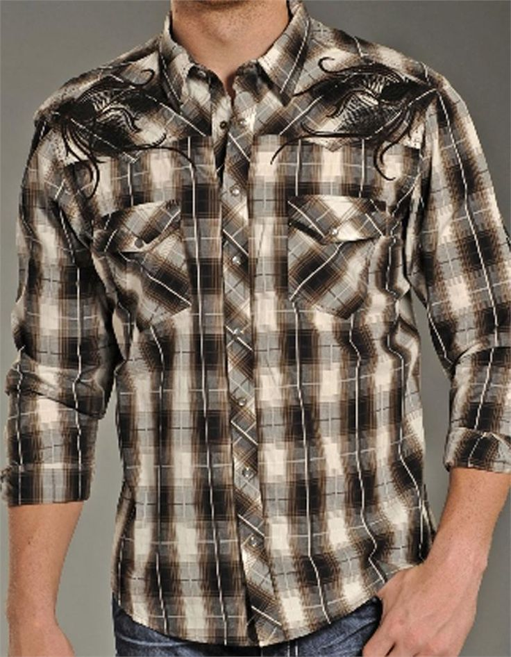 """Buy now! Exclusive #discount code """"QUICKSHIP"""" saves 20% more than #sale price. Selling out! Rock & Roll Cowboy Men's Brown Plaid Western Shirt"""