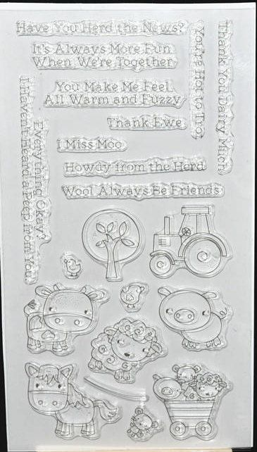 Farm Animals Clear Rubber Stamp Set w/ sheep, pig, cow, tractor, tree, chick, mouse, wagon, transparent, by DewAndDaisies on Etsy