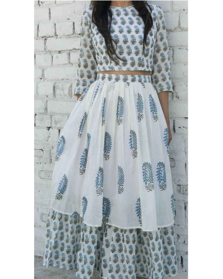 Mal mal cotton block printed crop top and skirt set in blue and white
