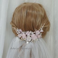 Pink Bridal Fascinator Wedding Hair Comb Blush от adriajewelry