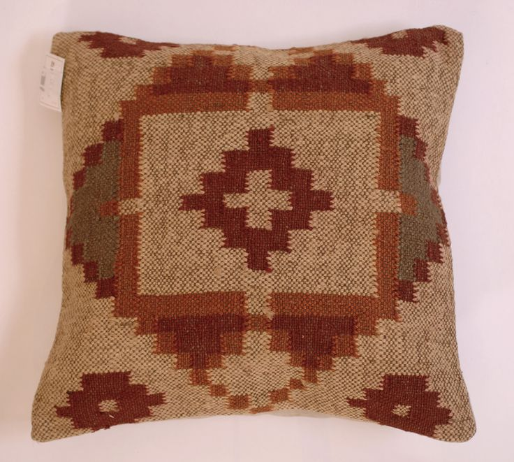 "Kilm Design India Wool Jute Square Pillow 20"" - Harrington Galleries"