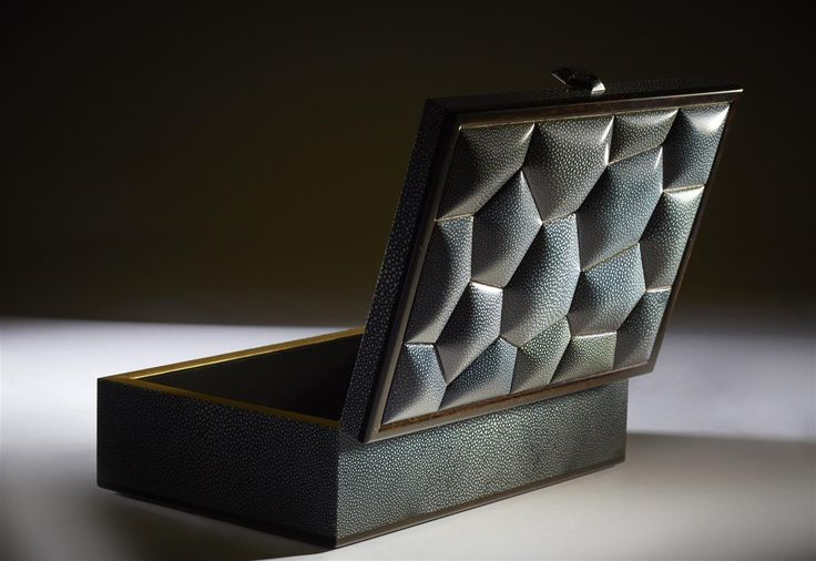 Shagreen and black Ebony Bubble Box. Inspired by the Beijing Olympic Swimming Pavilion