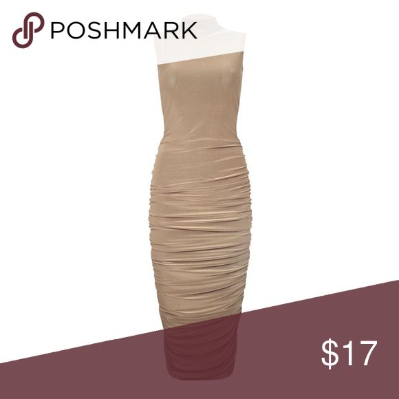 Mock Neck Ruched Midi Bodycon Dress A sultry beige bodycon dress with ruched sides to accentuate your curves. Midi length, mock neck, sleeveless.  Please let me know if you want pictures of me wearing the dress.  • Brand New With Tags!! • 95% Polyester, 5% Spandex • Retail Price: $19.99 BEJEALOUS Dresses Midi