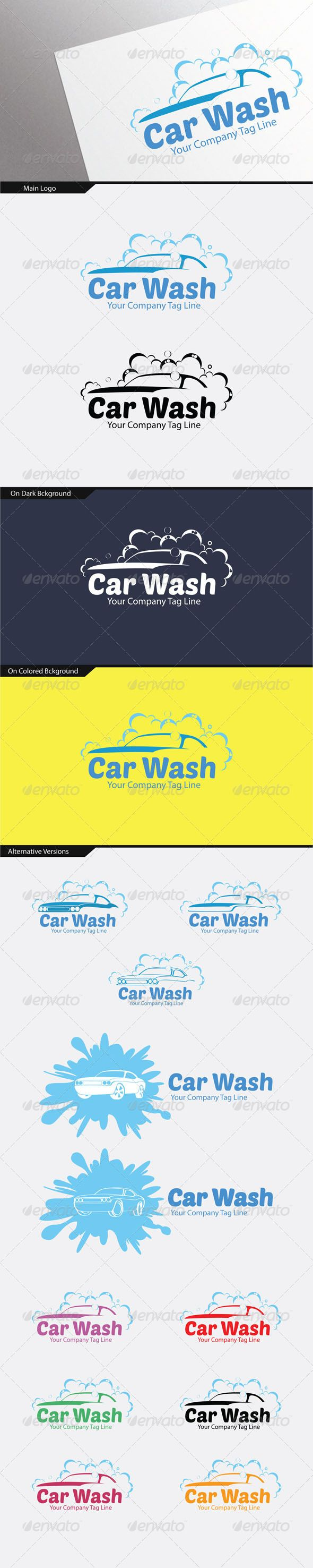 Car Wash Logo (14 Variations)