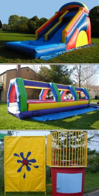 This company offers inflatable bounce houses for rent. They also have dunk tanks, obstacle courses, water slides for rent and more.