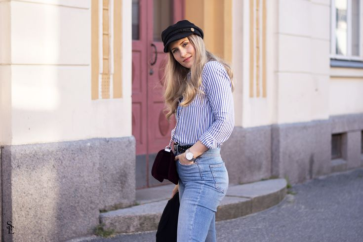 sandraemilia, skepparmössa, mom jeans, trashed, outfit, stripes, ränder, randig skjorta, outfit inspiration, fashionista