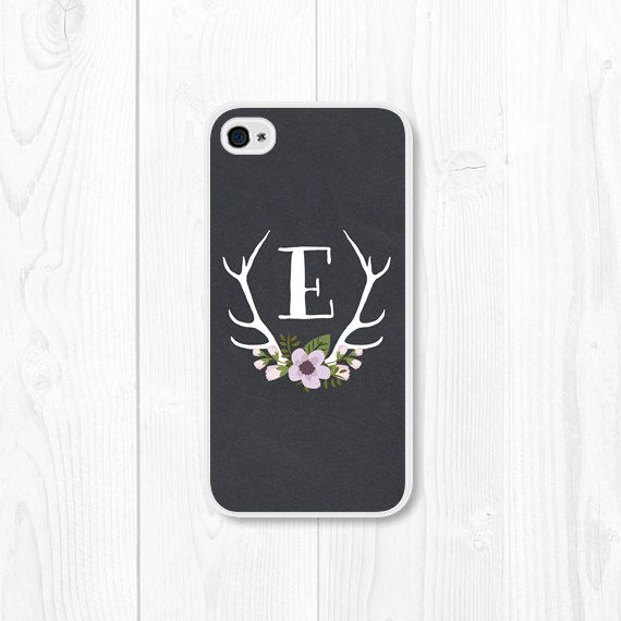 Purple Monogram Floral iPhone Case iPhone 4 / 4s by fieldtrip
