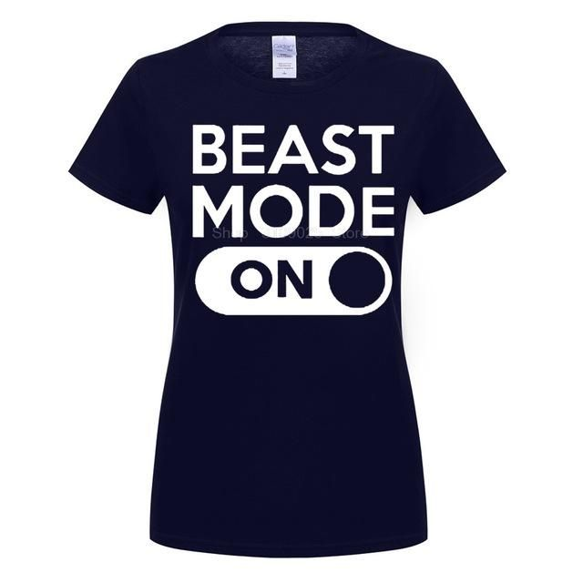 GILDAN customised t-shirts Beast Mode ON Fashion women T-Shirts Crossfit Letters Design PU Printed 100% Cotton Funny Tee Tops