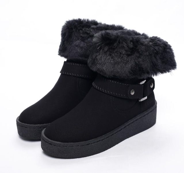 Teahoo Сезон 2017 г., новые женские сапоги на снежную погоду кролик Мех ботильоны на платформе обувь из кожи и меха Снегоступы женская обувь осень зима купить на AliExpress