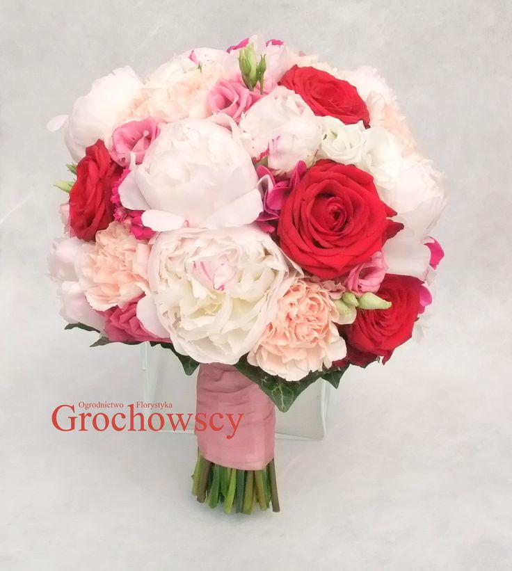 bukiet ślubny Człuchów #piwonie #peonies róże goździki