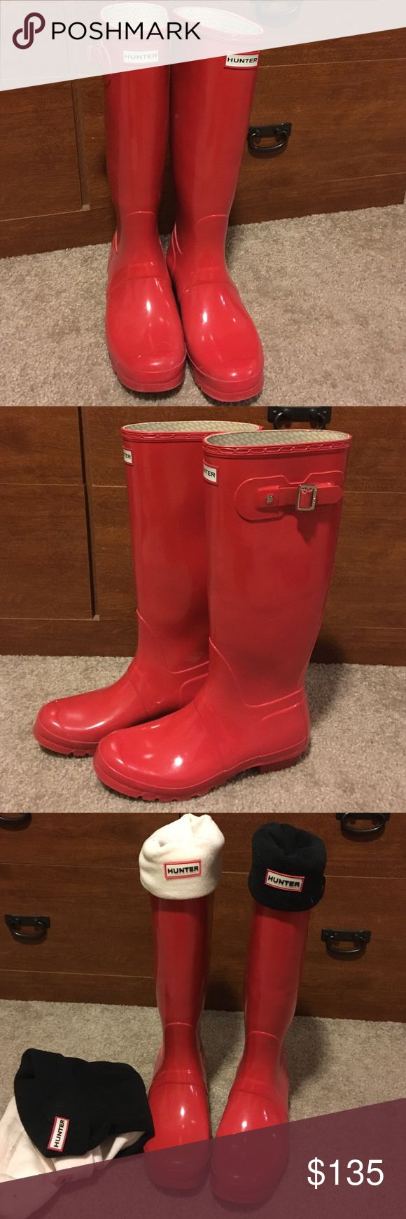 Tall glossy red hunter boots and boot socks! Size 10 tall glossy red hunter boots worn once or twice! They are in perfect condition. Selling with beige and black hunter boot socks size L (also barely worn). Moved to AZ.. Haven't found much need for these but they are amazing for rain and winter! Hunter Boots Shoes Winter & Rain Boots