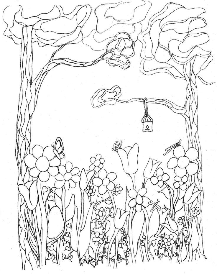 Free sample #coloring page from Thoughts & Sketches: Gardens & Gates edition writing journal and adult coloring book.