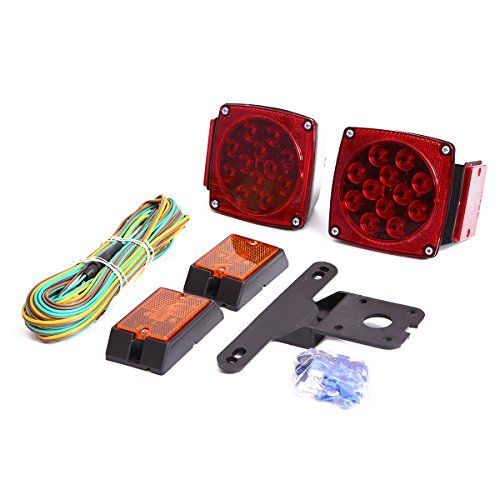 CZC AUTO 12V LED Submersible Trailer Tail Light Kit Stop Tail Turn Signal Lights for Under 80 Inch Boat Trailer Truck RV Snowmobile - CZC AUTO 12V Submersible LED Trailer Light Kit includes 2 combination stop, tail, turn signal lights, two amber LED marker lights ,25-ft wiring harness ,license plate bracket and mounting hardware bag. Waterproof and Submersible Feature and Testing(2nd Image):We placed light ...