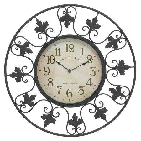 Decmode Metal Outdoor Wall Clock, Multi Color, Multicolor
